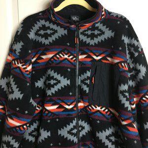 Aztec Fleece Zip Up Black Jacket Mens